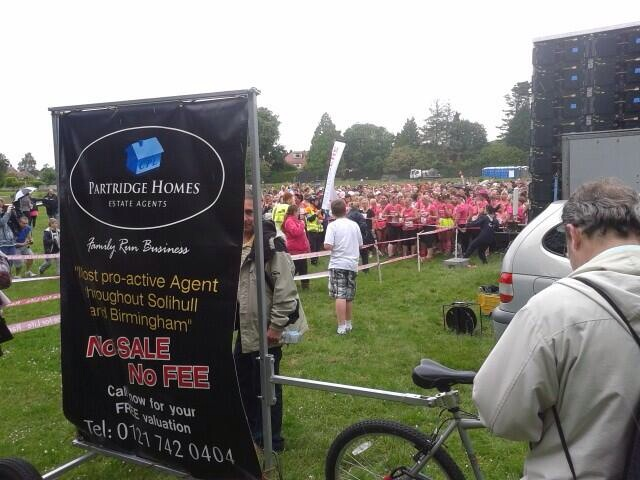 Partridge Homes banner at Race for Life